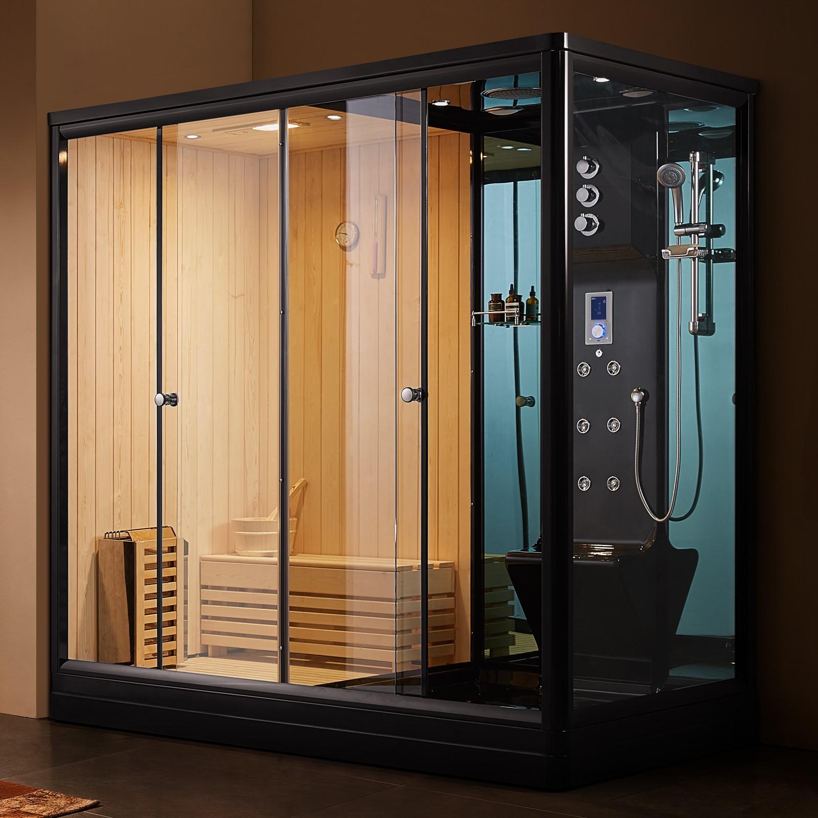 cf77c916c Steamdusj med tradisjonell sauna U881 Svart 220X120X220cm
